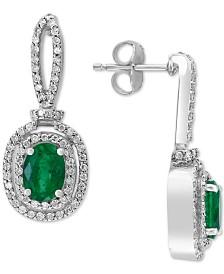 EFFY® Emerald (1-1/2 ct. t.w.) & Diamond (1/2 ct. t.w.) Drop Earrings in 14k White Gold
