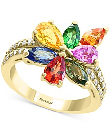EFFY® Multi-Gemstone (3-3/4 ct t.w.) & Diamond (1/4 ct. t.w.) Flower Ring in 14k Gold