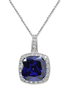 """Giani Bernini Blue Stone & Cubic Zirconia Halo 18"""" Pendant Necklace in Sterling Silver, Created for Macy's"""