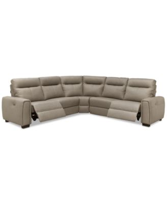 """Cheadle 116"""" 5-Pc. Leather """"L"""" Sectional Sofa with 2 Power Recliners, Created for Macy's"""