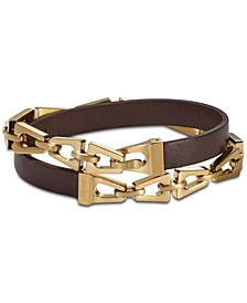 Men's Brown Leather and Tuning-Fork Link Wrap Bracelet in Gold-Tone Stainless Steel