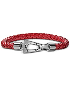 Men's Red Braided Leather Bracelet in Stainless Steel