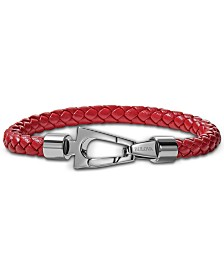 Bulova Men's Red Braided Leather Bracelet in Stainless Steel