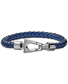 Men's Blue Braided Leather Bracelet in Stainless Steel