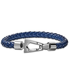 Bulova Men's Blue Braided Leather Bracelet in Stainless Steel