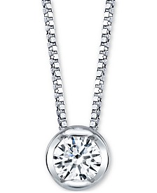 "Sirena Diamond Bezel Solitaire 18"" Pendant Necklace (1/10 ct. t.w.) in 14k White Gold"