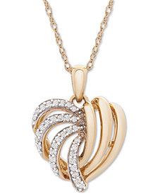 Wrapped in Love™ 14k Gold Diamond Heart Pendant Necklace (1/6 ct. t.w.), Created for Macy's