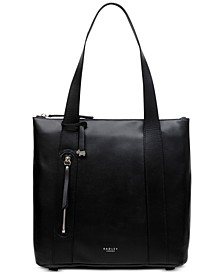 North South Leather Zip-Top Tote