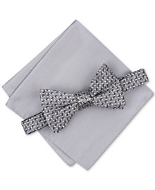 Alfani Men's Pre-Tied Geometric Bow Tie & Solid Pocket Square Set, Created for Macy's