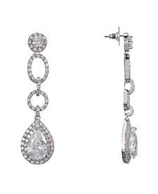 Pave Pear Cubic Zirconia Drop Earrings
