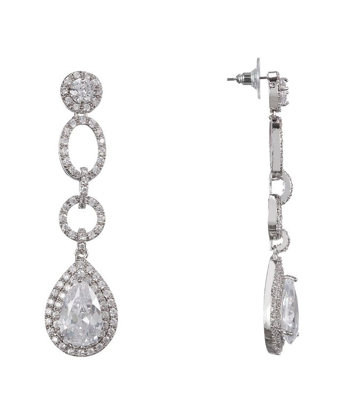 Nina - Pave' Pear Cubic Zirconia Drop Earrings