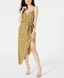 Material Girl Juniors' Printed Asymmetrical Satin Dress, Created for Macy's