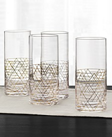 Gold Decal Highball Glasses, Set of 4, Created for Macy's