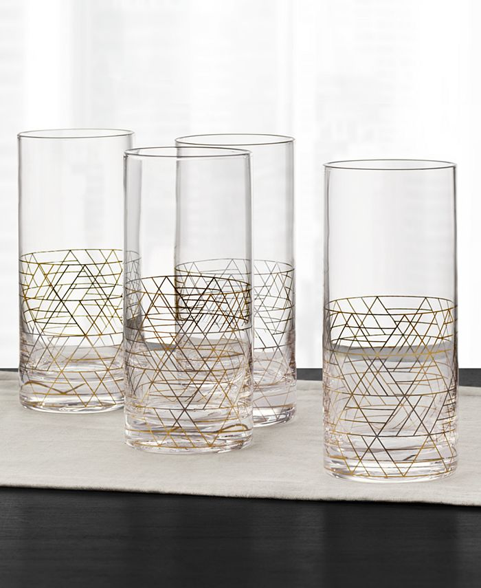 Hotel Collection - Gold Decal Highball Glasses, Set of 4
