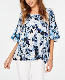 Alfani Floral-Print Ruffled Top, Created for Macy's