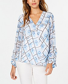 Petite Printed Surplice Blouse, Created for Macy's