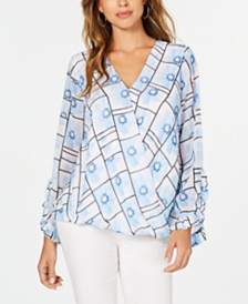 Alfani Petite Printed Surplice Blouse, Created for Macy's