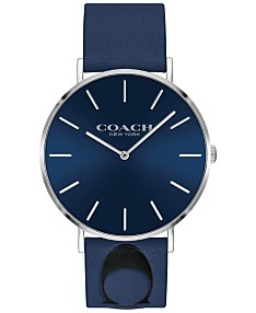 dbd570e67 COACH Women's Charles Blue Leather Strap Watch 35mm, Created for Macy's