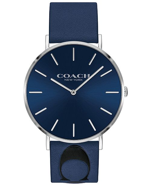 COACH Men's Charles Blue Leather Strap Watch 35mm, Created for Macy's