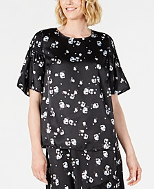 Floral-Print Satin Smocked-Shoulder Top, Created for Macy's