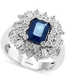 EFFY® Sapphire (1-1/2 ct. t.w.) & Diamond (3/8 ct. t.w.) Statement Ring in 14k White Gold