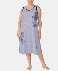 Lauren Ralph Lauren Plus Size Striped Cotton Ballet Nightgown