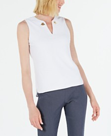 Calvin Klein Textured Grommet-Hardware Top