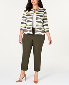 Kasper  Plus Size Open-Front Jacket & Cuffed Pants