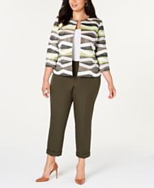 Kasper  Plus Size Open-Front Jacket & Cuffed Pants