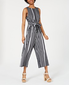 BCX Juniors' Striped Tie-Front Jumpsuit