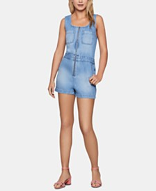 BCBGeneration Cotton Denim Utility Romper