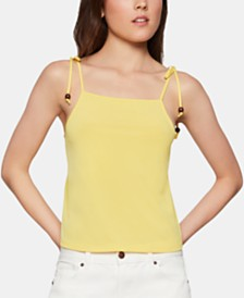 BCBGeneration Beaded Tie-Strap Tank Top