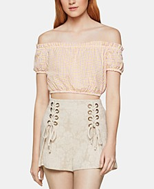 Cotton Off-The-Shoulder Crop Top