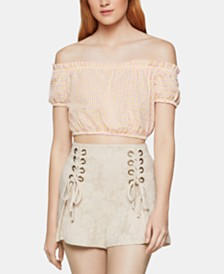 BCBGeneration Cotton Off-The-Shoulder Crop Top