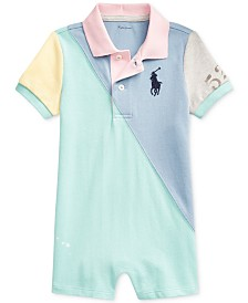 Polo Ralph Lauren Baby Boys Basic Mesh Colorblocked Shortall