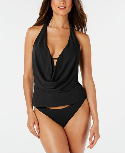 Bar III Sunset Solids Cowl-Neck Tankini Top & Cheeky Hipster Bikini Bottoms, Created for Macy's