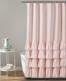 "Ella Lace Ruffle 72"" x 72"" Shower Curtain"
