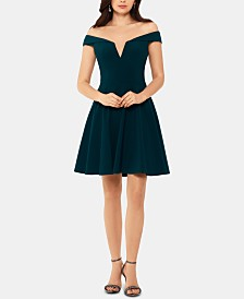 XSCAPE Petite Off-The-Shoulder Fit & Flare Dress