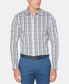 Perry Ellis Men's Regular-Fit Windowpane Plaid Shirt