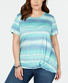 Plus Size Knot-Hem T-Shirt, Created for Macy's