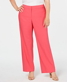 Calvin Klein Plus Size High-Rise Straight-Leg Pants