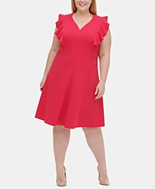 Plus Size Ruffle-Sleeve Fit & Flare Dress