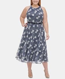 Tommy Hilfiger Plus Size Belted Floral-Print Midi Dress