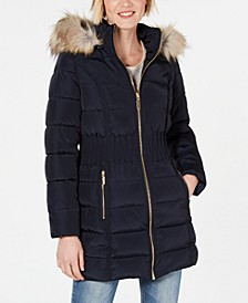 Faux-Fur-Trim Puffer Coat
