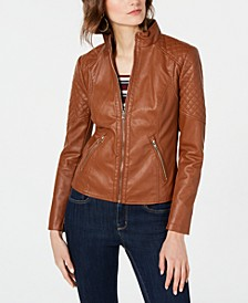 Front Zip Faux-Leather Jacket, Created for Macy's