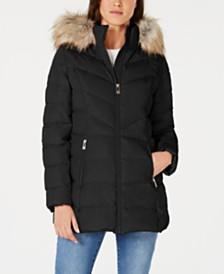 I.N.C. Faux-Fur Trim Hooded Puffer Coat, Created for Macy's