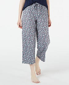 Charter Club Floral-Print Cotton Knit Pajama Pants, Created for Macy's