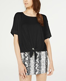 Hooked Up By IOT Juniors' Tie-Front Dolman-Sleeved Top