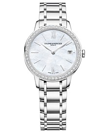 Women's Swiss Classima Diamond (1/4 ct. t.w.) Stainless Steel Bracelet Watch 31mm