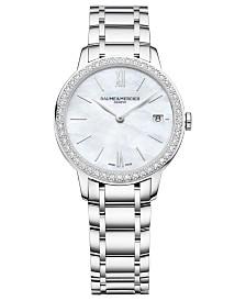 Baume & Mercier Women's Swiss Classima Diamond (1/4 ct. t.w.) Stainless Steel Bracelet Watch 31mm